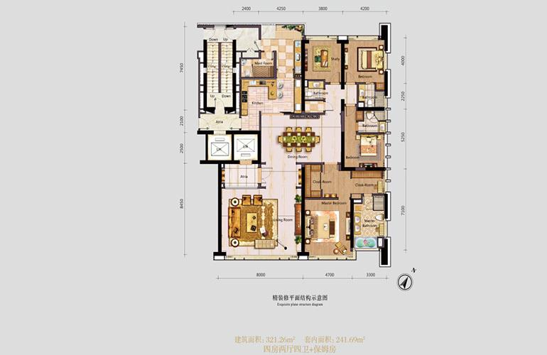 仁恒滨海中心 A户型 4房2厅4卫1厨+保姆房 建面321.26㎡