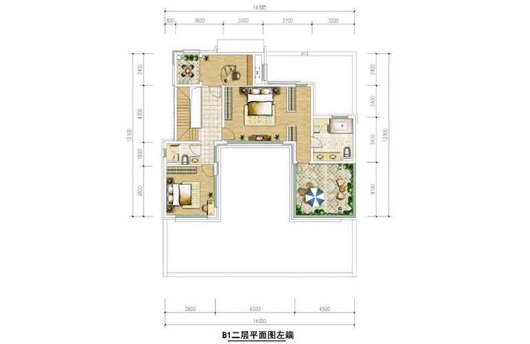 B1户型二层 5室2厅4卫1厨 140㎡