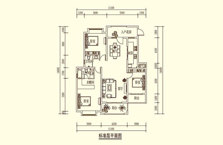 骆驼湾 K1户型 3室2厅2卫1厨 137㎡