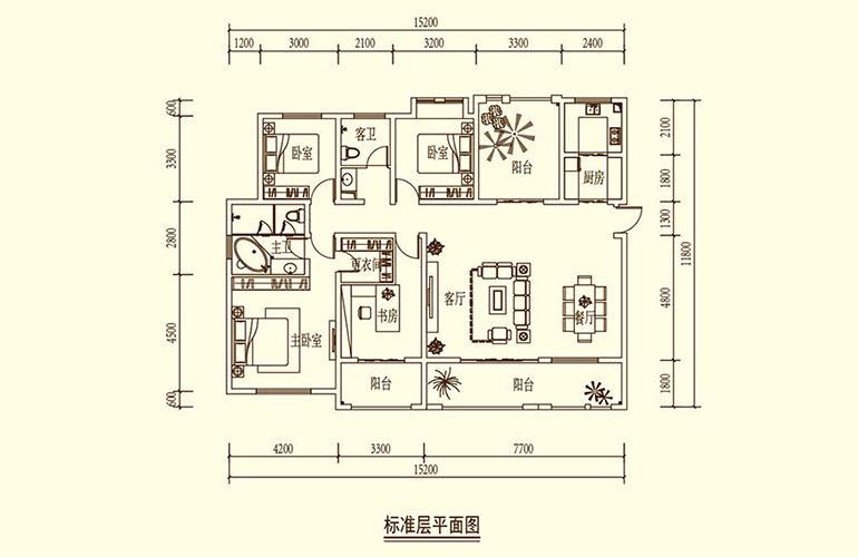 骆驼湾 F1户型 4室2厅2卫1厨 172㎡
