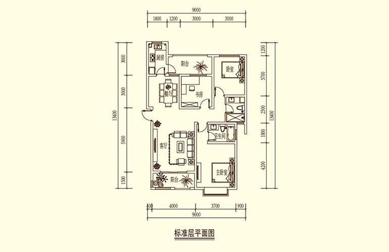 骆驼湾 C2户型 3室2厅2卫1厨 110㎡