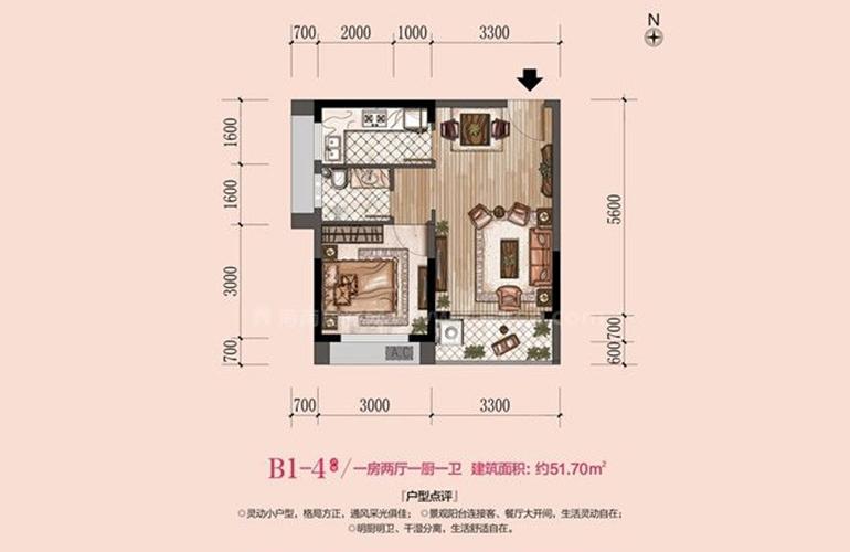 B1-4户型 1室1厅1厨1卫 建面51㎡