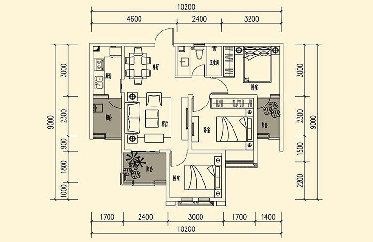 骆驼湾 L2户型 3室2厅1卫1厨 79.54㎡