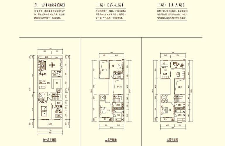 骆驼湾 别墅B户型分层图 5室3厅5卫1厨 306㎡