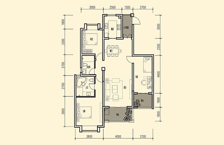 骆驼湾 D2户型 3室2厅2卫1厨 123㎡