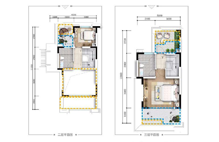 古滇名城别墅 山景小院G3户型上层 4室3厅4卫1厨 171㎡