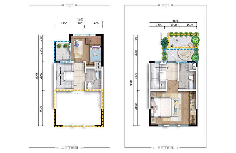 古滇名城别墅 山景小院G2户型上层 4室2厅4卫1厨 156㎡