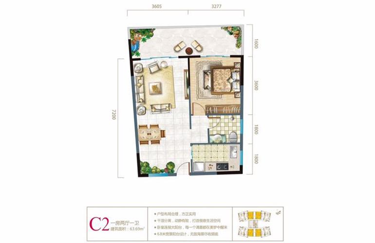 長島藍灣 二期C2戶型 1室2廳1廚1衛 建面63㎡