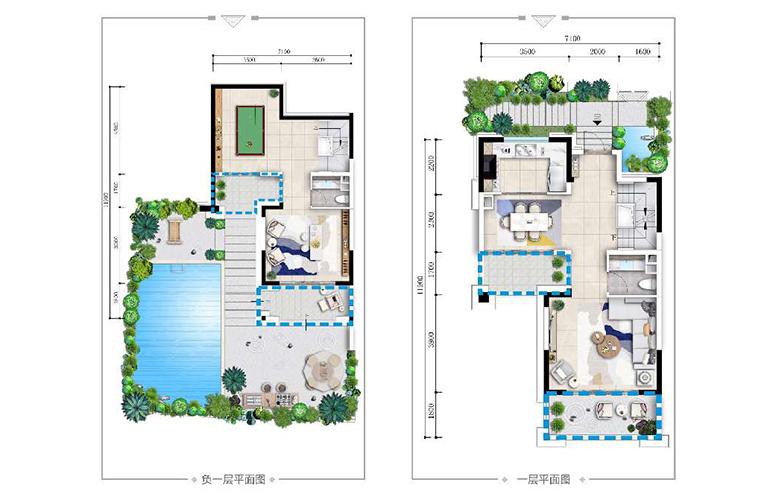 古滇名城别墅 山景小院G1户型下层 4室3厅4卫1厨 215㎡