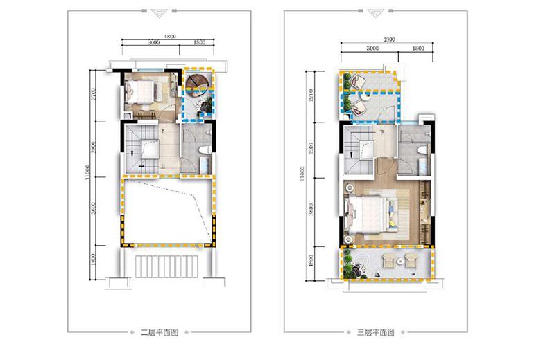 古滇名城别墅 山景小院G1户型上层 4室2厅4卫1厨 164㎡
