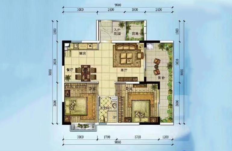 D户型 2室2厅1厨1卫 建面89㎡