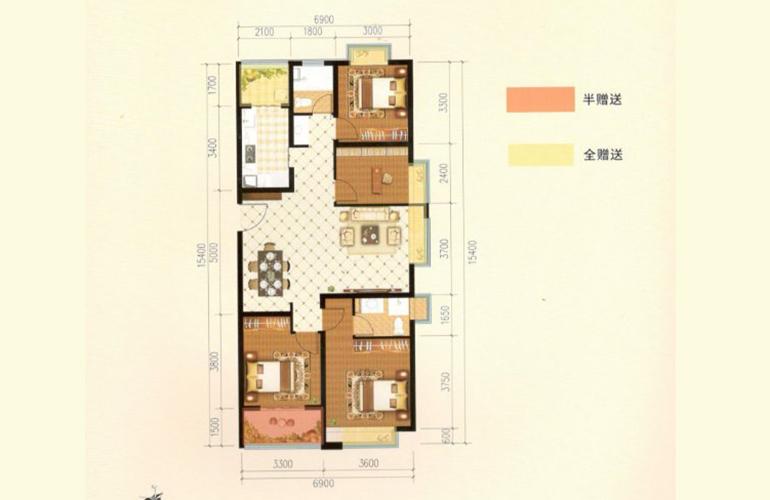 滇池名门 K户型 4室2厅2卫1厨 128.64㎡