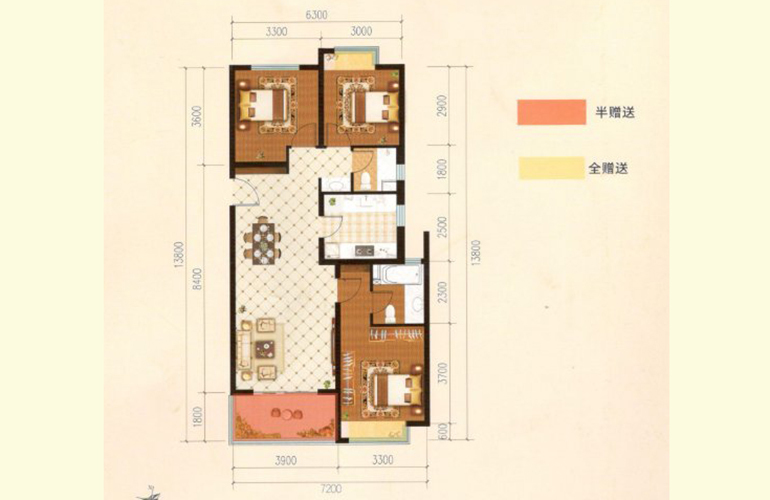 滇池名门 G户型 3室2厅2卫1厨 113.93㎡