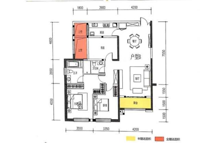 滇池名门 B户型 3室2厅2卫1厨 136.29㎡