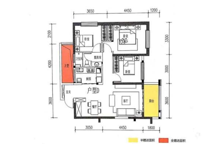 滇池名门 D户型 3室2厅1卫1厨 101.20㎡