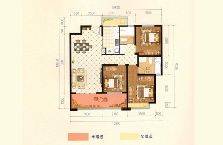 滇池名门 J户型 3室2厅2卫1厨 123.31㎡