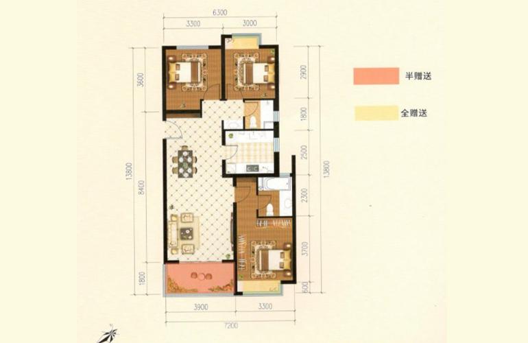 滇池名门 G户型 3室2厅2卫1厨 115.41㎡
