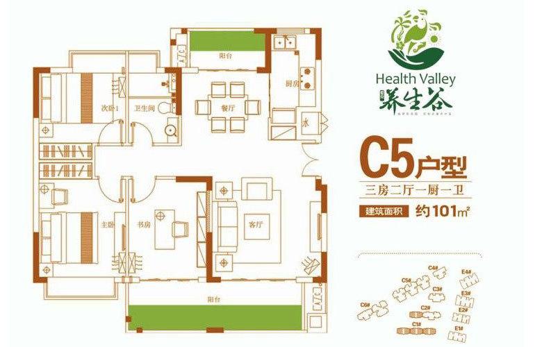 C5户型 3房2厅1卫 建面101㎡