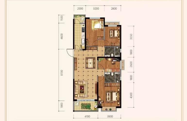 恒大玖珑湾 A户型 4室2厅2卫1厨 建面145㎡