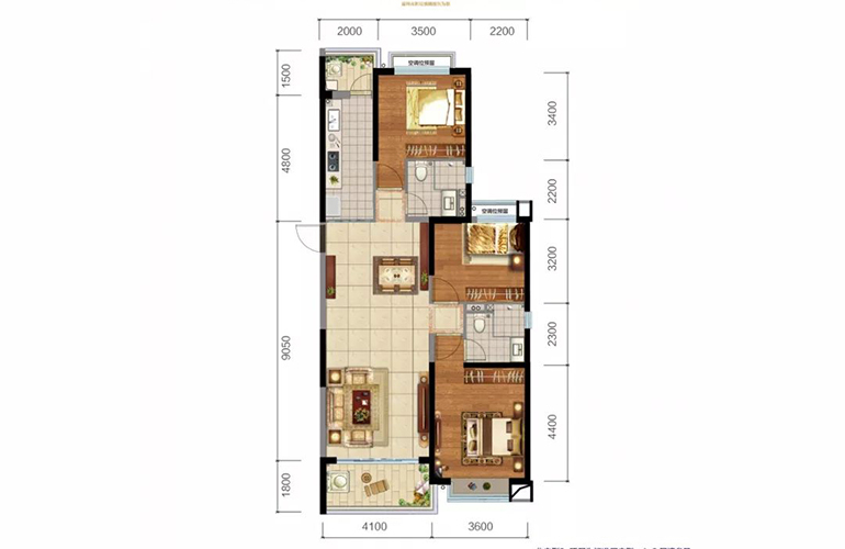 恒大玖珑湾 2、3户型 3室2厅2卫1厨 建面134㎡