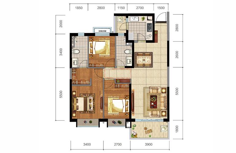 恒大玖珑湾 1、4户型 3室2厅2卫1厨 建面127㎡