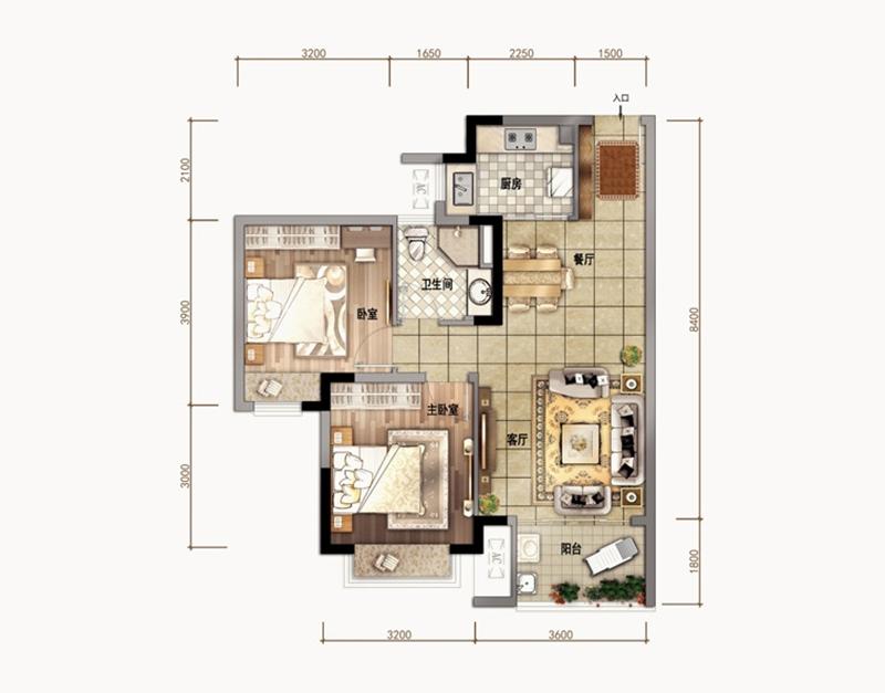 汇元文澜世家 A02户型 2室2厅1卫1厨 建面79㎡