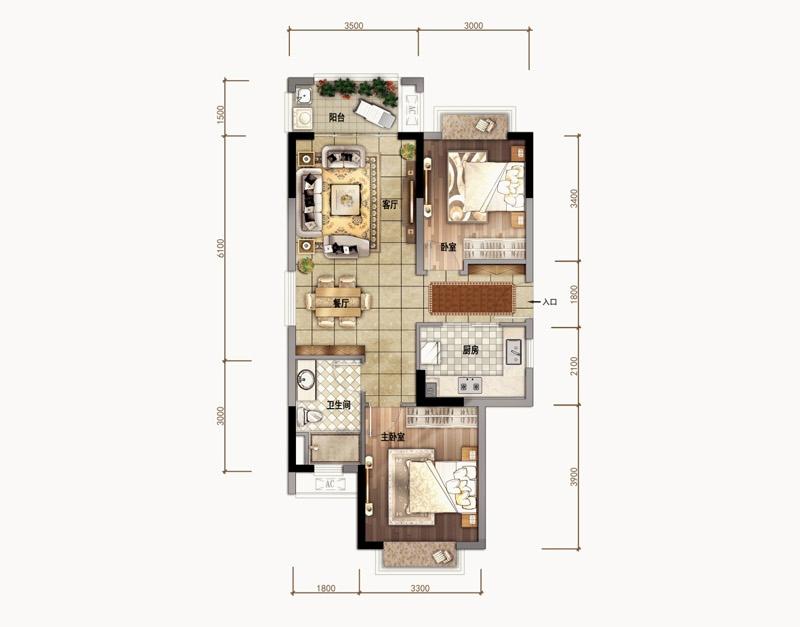汇元文澜世家 A01户型 2室2厅1卫1厨 建面83㎡