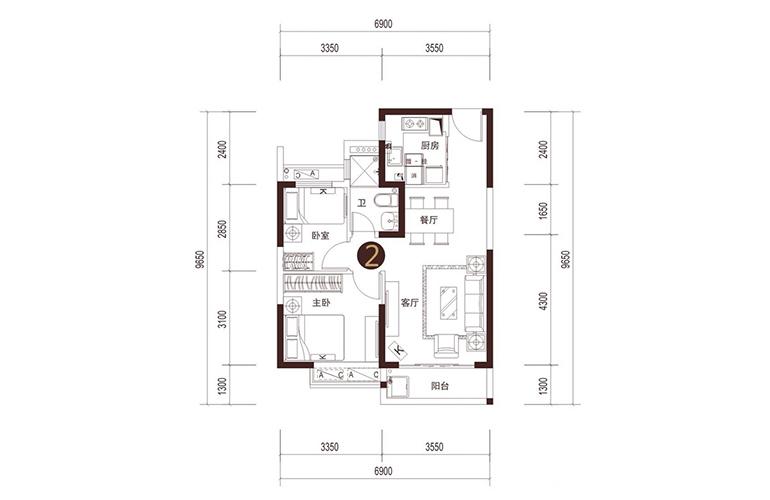 02户型 2室2厅1厨1卫 建面70㎡