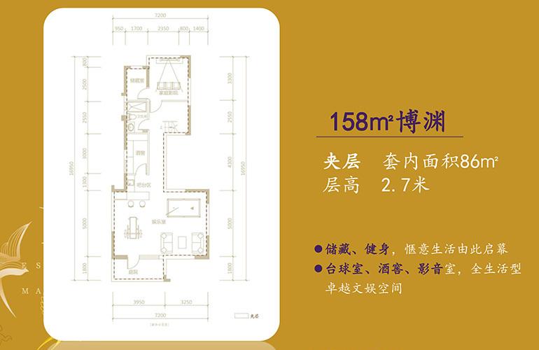 北大资源颐和1898 博渊户型夹层 4室3厅2卫2厨 158㎡