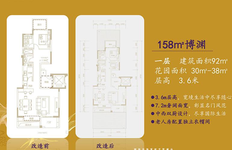 北大资源颐和1898 博渊户型一层 4室3厅2卫2厨 158㎡