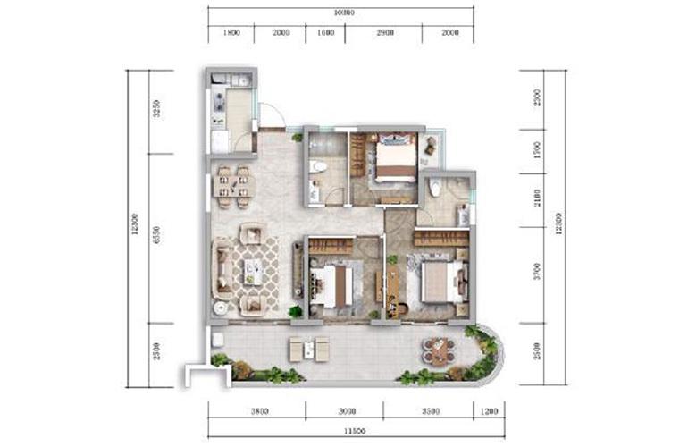 古滇未来城 D户型 3室2厅2卫1厨 113.96㎡