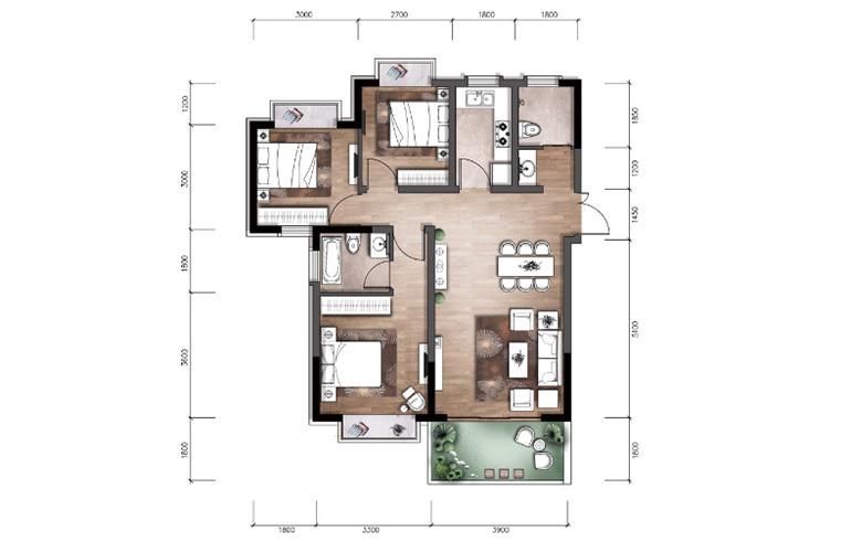 温泉山谷 P1户型 3室2厅2卫1厨 104.99㎡