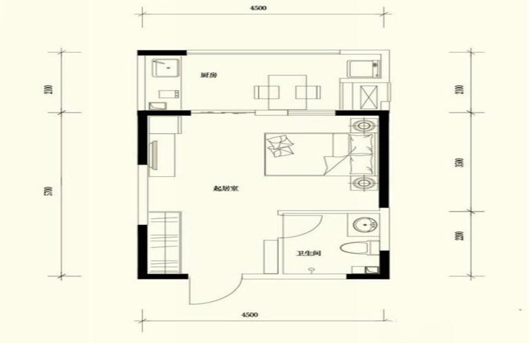 鹭湖国际养生度假区 A1户型-1室1厅1卫1厨-建面40㎡