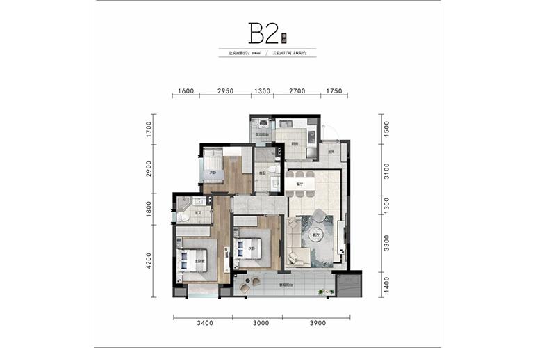 奥山成都澎湃城 B2户型106㎡3室2厅2卫