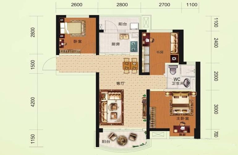 碧桂園瀾江華府 770-C戶型 3室2廳1衛1廚 建面82㎡