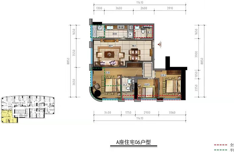 中大金融中心 06户型 3室2厅2卫1厨 94㎡