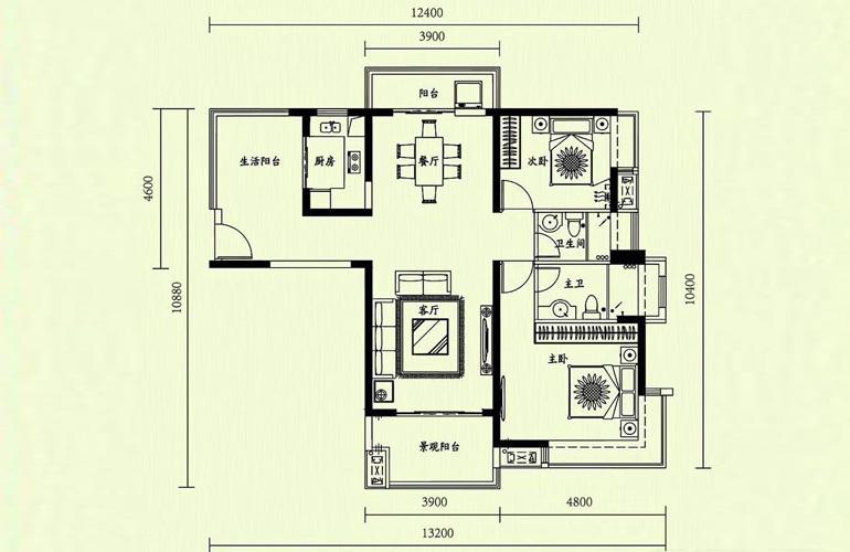 天隆三千海 2室2厅2卫 建面110㎡