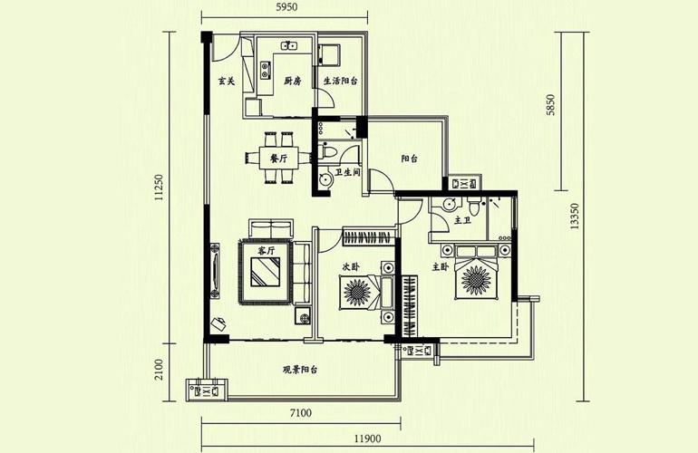 天隆三千海 2室2厅2卫 建面120㎡