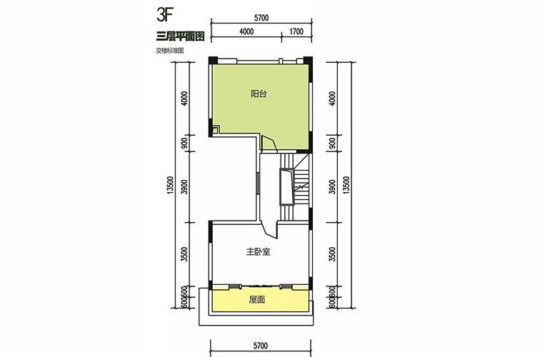 金地格林泊乐三期 联排边位别墅 三层平面图 建面180㎡