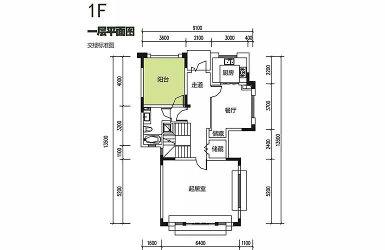 金地格林泊乐三期 双拼别墅 一层平面图 建面250㎡