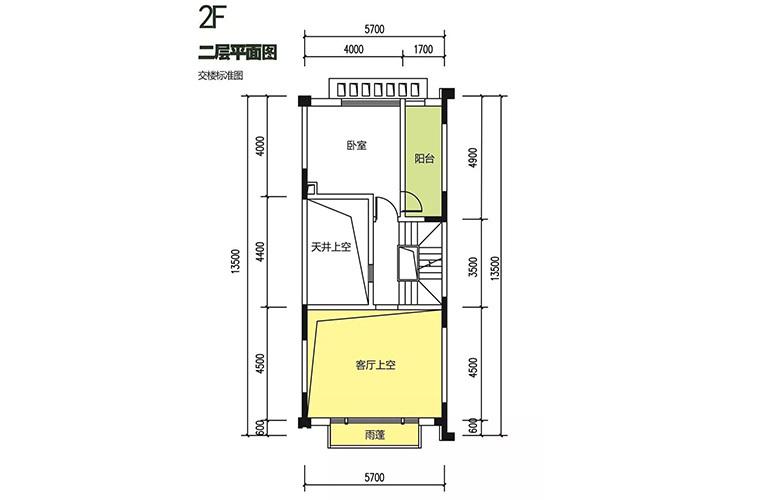 金地格林泊乐三期 联排中段别墅 二层平面图 建面175㎡