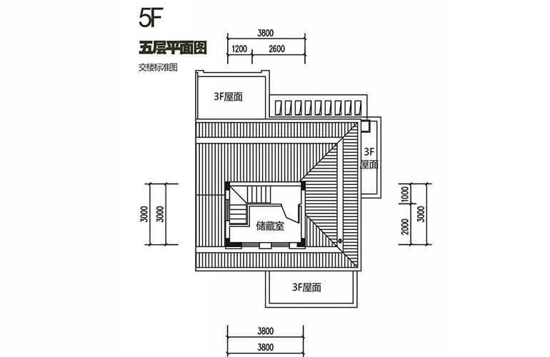 金地格林泊乐三期 双拼别墅 五层平面图 建面250㎡