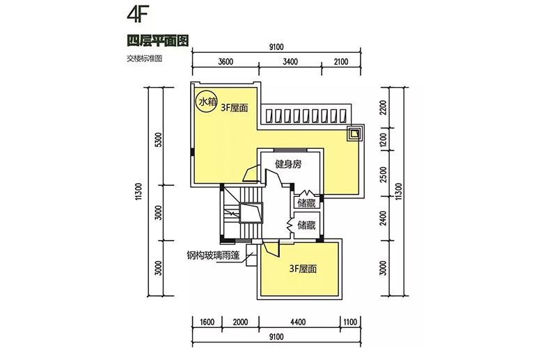 金地格林泊乐三期 双拼别墅 四层平面图 建面250㎡