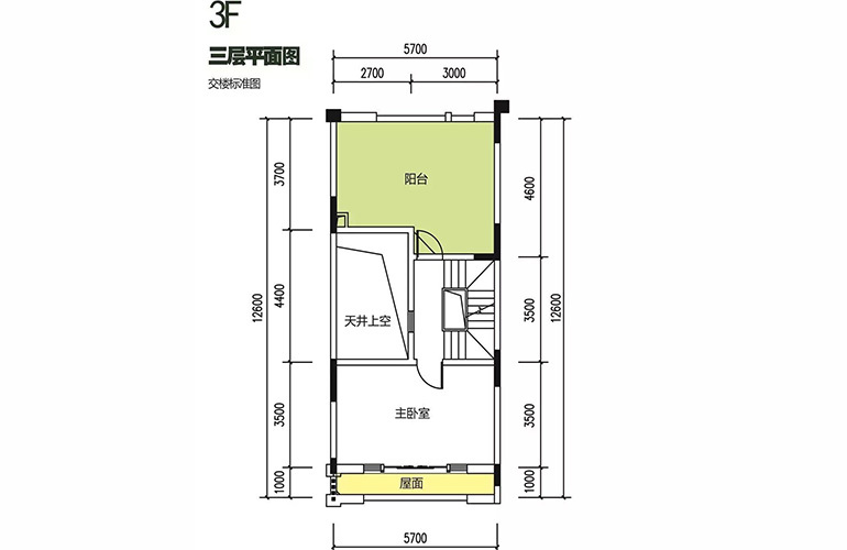 金地格林泊乐三期 联排中段别墅 三层平面图 建面175㎡