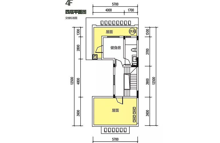 金地格林泊乐三期 联排边位别墅 四层平面图 建面180㎡