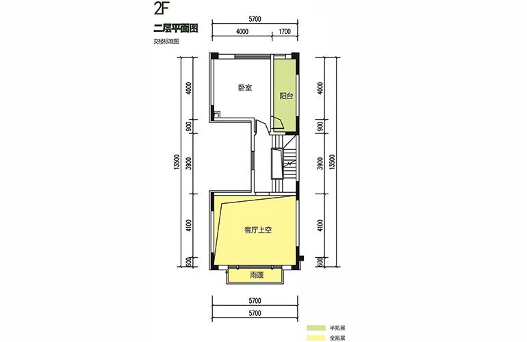 金地格林泊乐三期 联排边位别墅 二层平面图 建面180㎡