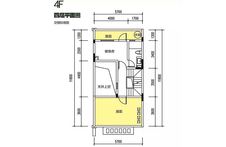 金地格林泊乐三期 联排中段别墅 四层平面图 建面175㎡