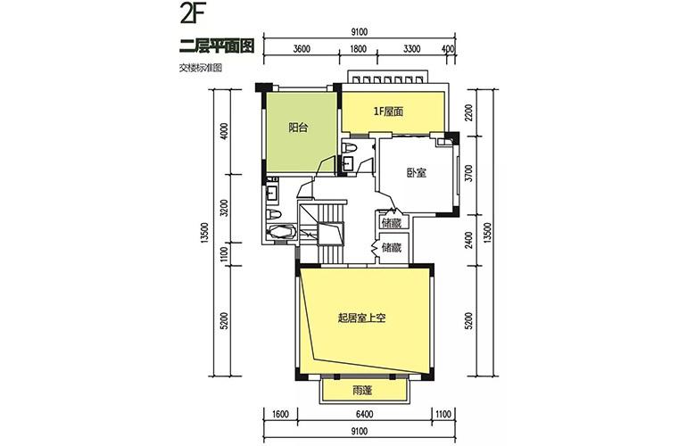 金地格林泊乐三期 双拼别墅 二层平面图 建面250㎡