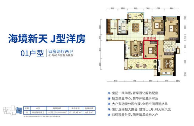 雅居樂清水灣 洋房01戶型四室兩廳建面160㎡