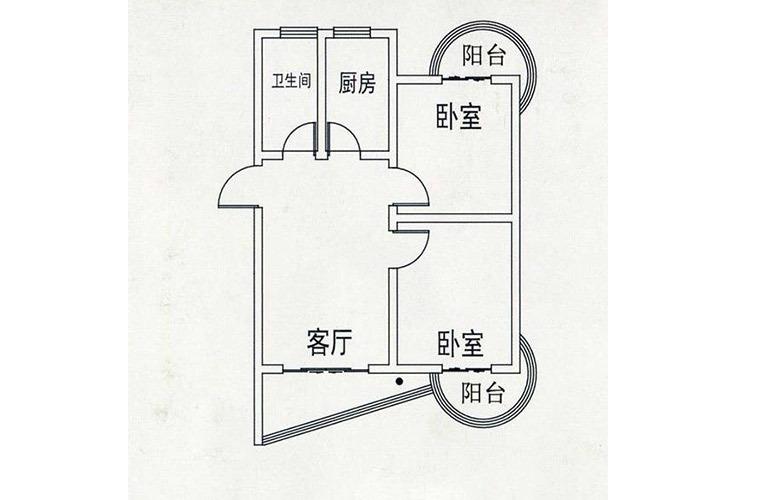 C户型2室1厅1卫76.86㎡
